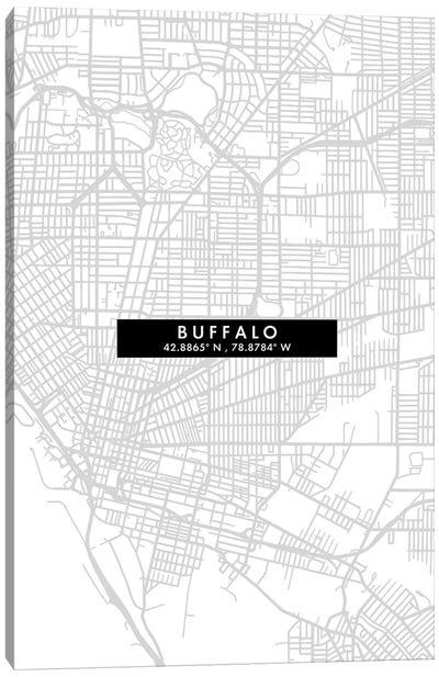 Buffalo, New York City Map Minimal Style Canvas Art Print