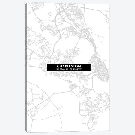 Charleston, South Carolina City Map Minimal Style Canvas Print #WDA1613} by WallDecorAddict Canvas Art Print