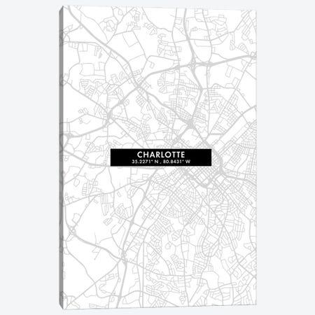 Charlotte, North Carolina City Map Minimal Style Canvas Print #WDA1614} by WallDecorAddict Canvas Art