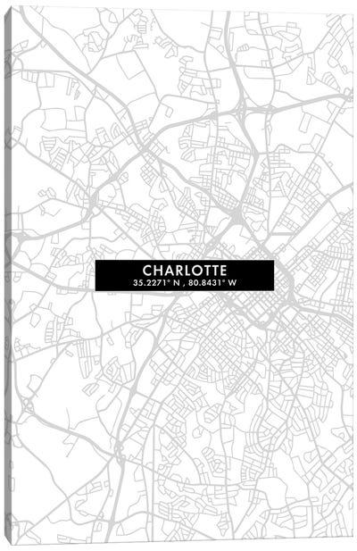Charlotte, North Carolina City Map Minimal Style Canvas Art Print