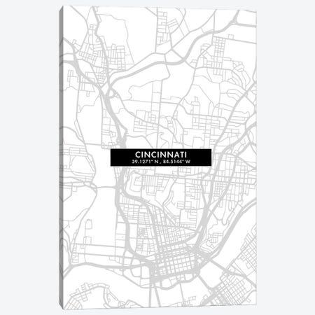 Cincinnati, City Map Minimal Style, Ohio Canvas Print #WDA1617} by WallDecorAddict Canvas Art