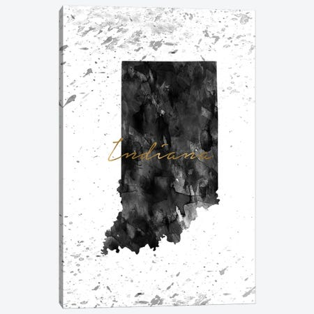 Indiana Black And White Gold Canvas Print #WDA161} by WallDecorAddict Canvas Art