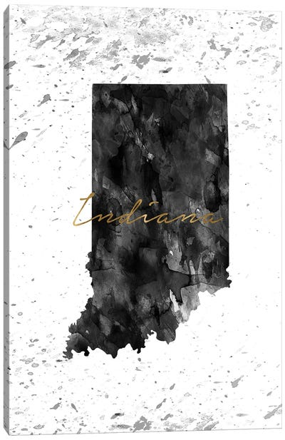 Indiana Black And White Gold Canvas Art Print
