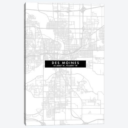 Des Moines, Iowa, City Map Minimal Style Canvas Print #WDA1625} by WallDecorAddict Canvas Art Print