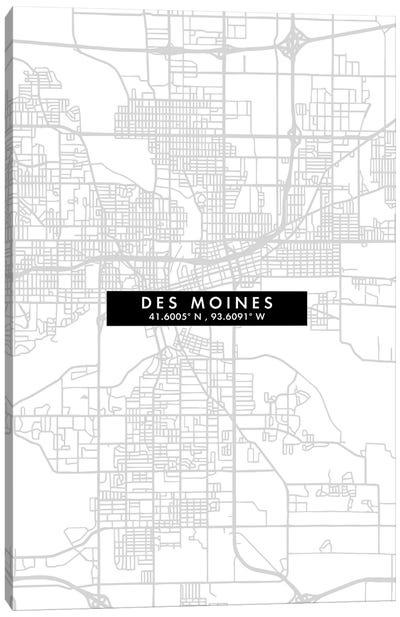 Des Moines, Iowa, City Map Minimal Style Canvas Art Print