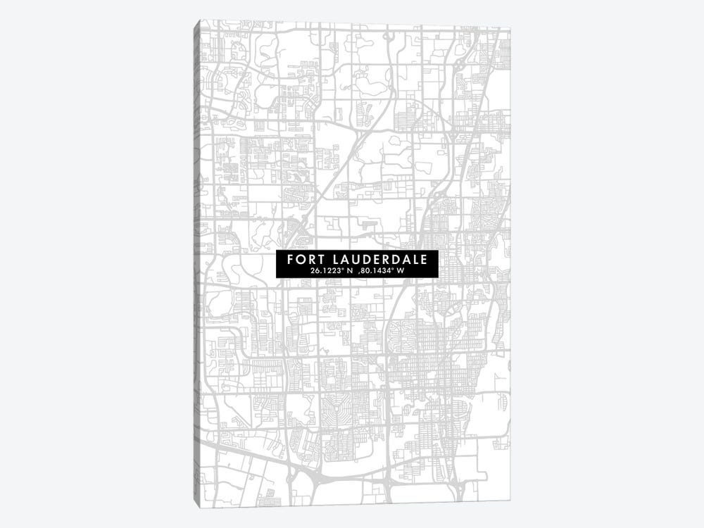 Fort Lauderdale, Florida, City Map Minimal Style by WallDecorAddict 1-piece Canvas Wall Art