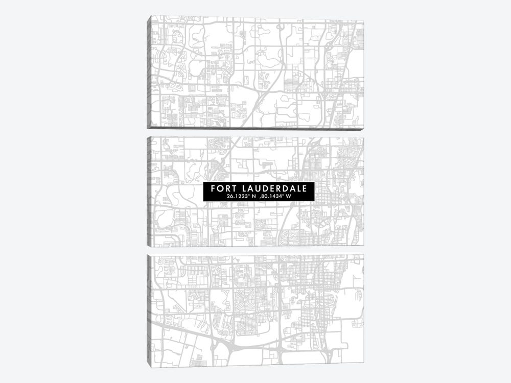 Fort Lauderdale, Florida, City Map Minimal Style by WallDecorAddict 3-piece Canvas Artwork
