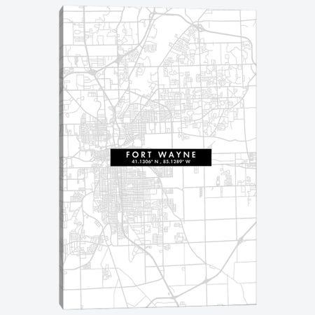 Fort Wayne, Indiana, City Map Minimal Style Canvas Print #WDA1629} by WallDecorAddict Canvas Art