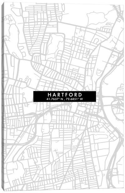 Hartford City Map Minimal Style Canvas Art Print