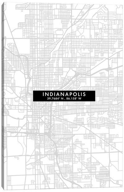 Indianapolis City Map Minimal Style Canvas Art Print