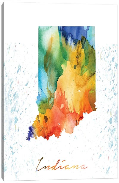 Indiana State Colorful Canvas Art Print