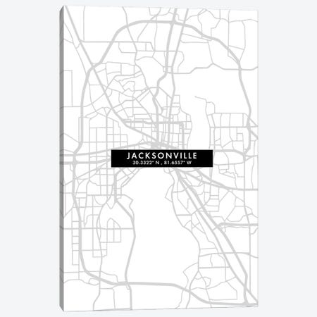 Jacksonville, Florida, City Map Minimal Style Canvas Print #WDA1644} by WallDecorAddict Canvas Print