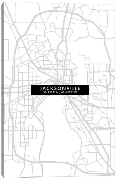 Jacksonville, Florida, City Map Minimal Style Canvas Art Print