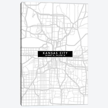 Kansas City, Map Minimal Style Canvas Print #WDA1646} by WallDecorAddict Art Print
