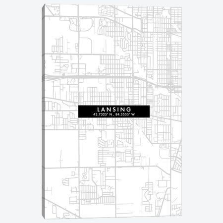 Lansing City, Map Minimal Style, Michigan Canvas Print #WDA1649} by WallDecorAddict Canvas Art