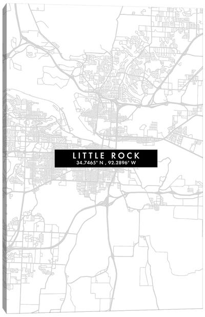 Little Rock City Map Minimal Style Canvas Art Print