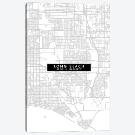 Long Beach City Map Minimal Style Canvas Print #WDA1653} by WallDecorAddict Art Print