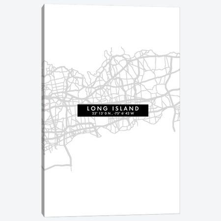 Long Island City Map Minimal Style Canvas Print #WDA1654} by WallDecorAddict Canvas Artwork