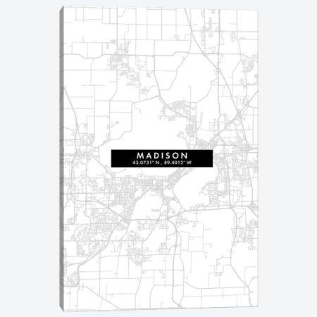 Madison, Wisconsin City Map Minimal Style Canvas Print #WDA1657} by WallDecorAddict Canvas Art