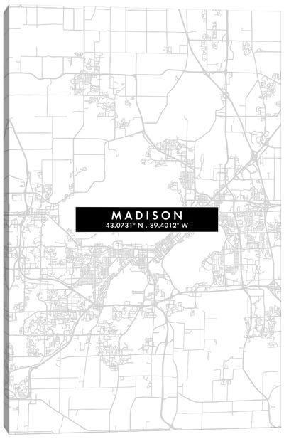 Madison, Wisconsin City Map Minimal Style Canvas Art Print