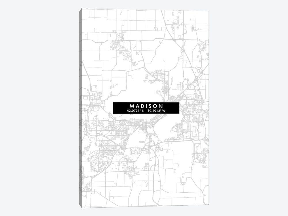 Madison, Wisconsin City Map Minimal Style by WallDecorAddict 1-piece Canvas Art