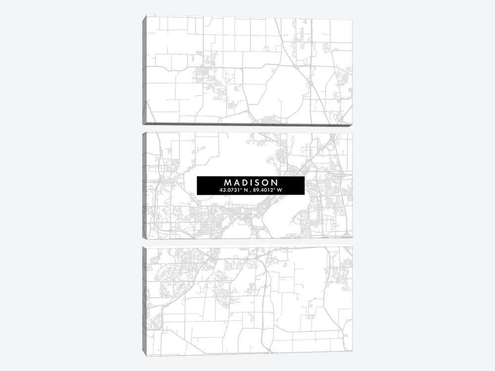Madison, Wisconsin City Map Minimal Style by WallDecorAddict 3-piece Canvas Art