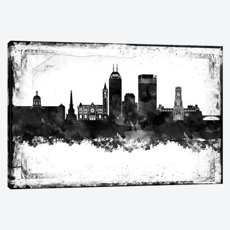 Indianapolis Black And White Framed Skylines Canvas Print #WDA165} by WallDecorAddict Art Print