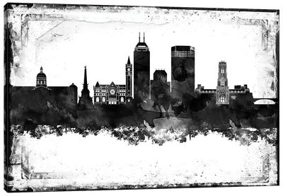 Indianapolis Black And White Framed Skylines Canvas Art Print