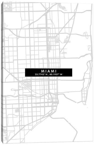 Miami City Map Minimal Style Canvas Art Print
