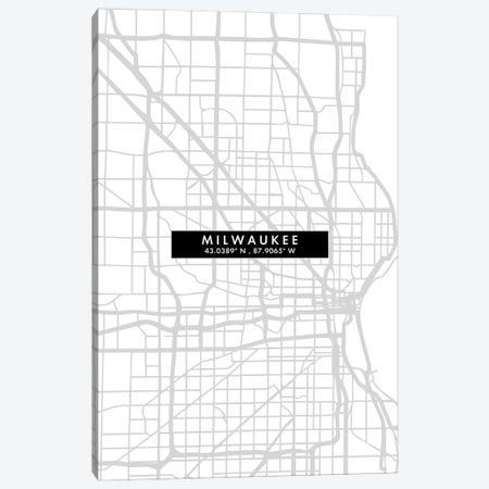Milwaukee, Wisconsin City Map Minimal Style Canvas Print #WDA1662} by WallDecorAddict Canvas Wall Art