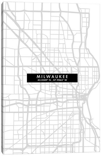Milwaukee, Wisconsin City Map Minimal Style Canvas Art Print