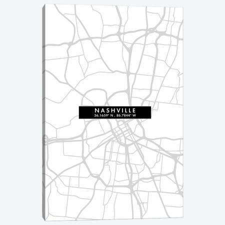Nashville, Tennessee City Map Minimal Style Canvas Print #WDA1665} by WallDecorAddict Canvas Print