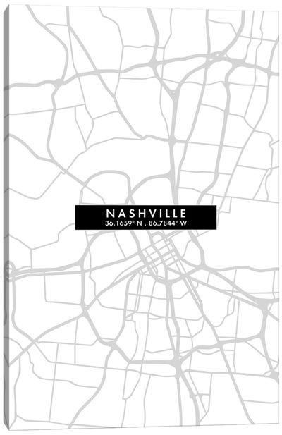 Nashville, Tennessee City Map Minimal Style Canvas Art Print