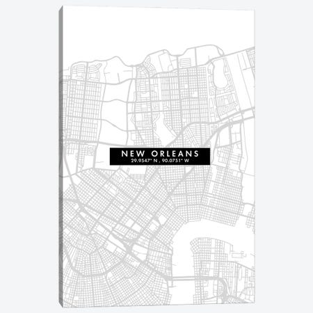 New Orleans, Louisiana City Map Minimal Style Canvas Print #WDA1667} by WallDecorAddict Canvas Print
