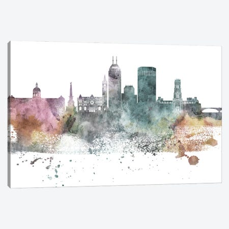 Indianapolis Pastel Skylines 3-Piece Canvas #WDA166} by WallDecorAddict Canvas Art Print