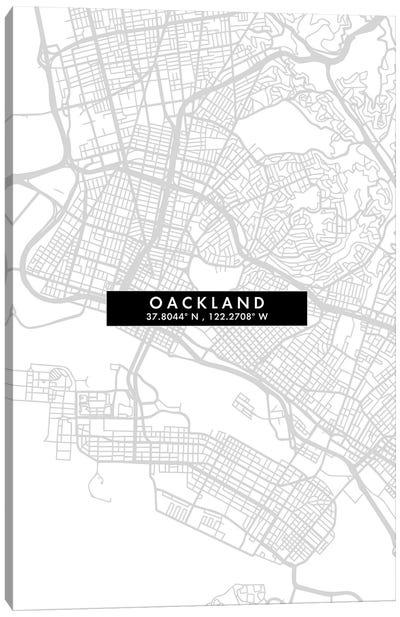 Oakland, California City Map Minimal Style Canvas Art Print