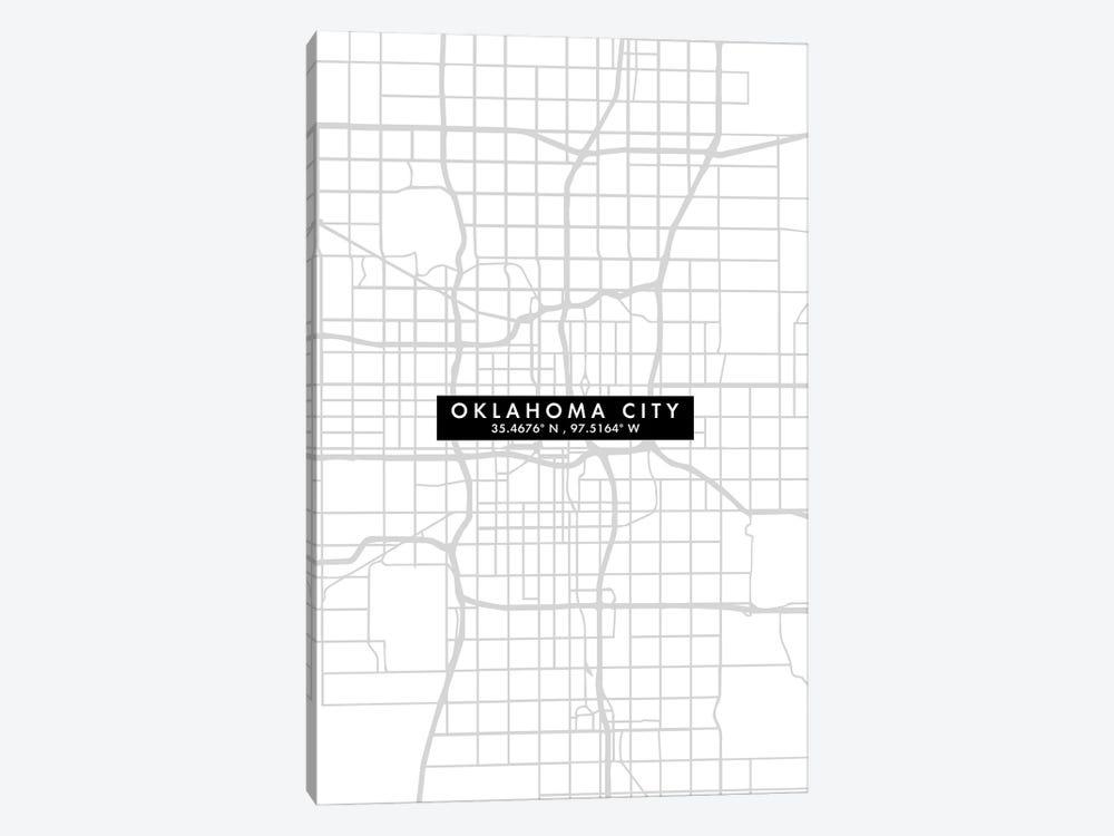 Oklahoma City Map Minimal Style by WallDecorAddict 1-piece Canvas Wall Art