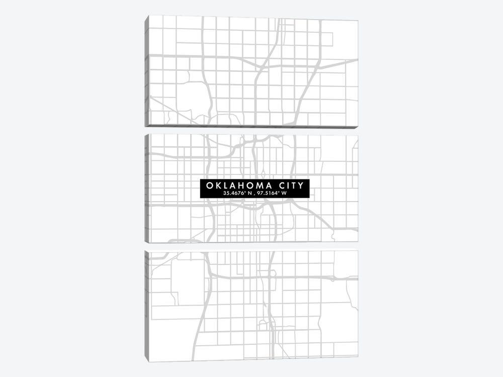 Oklahoma City Map Minimal Style by WallDecorAddict 3-piece Canvas Art