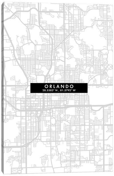 Orlando, Florida City Map Minimal Style Canvas Art Print