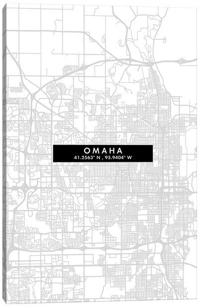 Omaha, Nebraska City Map Minimal Style Canvas Art Print