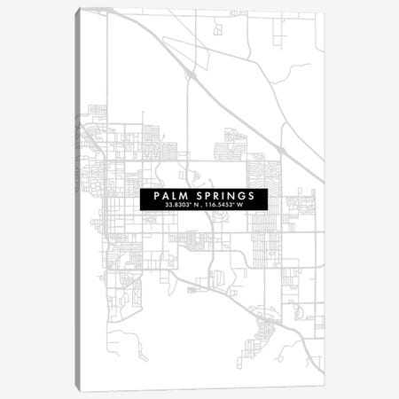 Palm Springs, California City Map Minimal Style Canvas Print #WDA1674} by WallDecorAddict Canvas Art