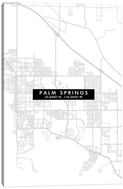 Palm Springs, California City Map Minimal Style Canvas Art Print
