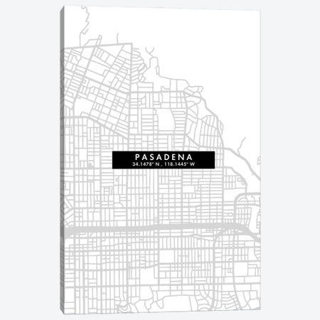 Pasadena, California City Map Minimal Style Canvas Print #WDA1676} by WallDecorAddict Canvas Art