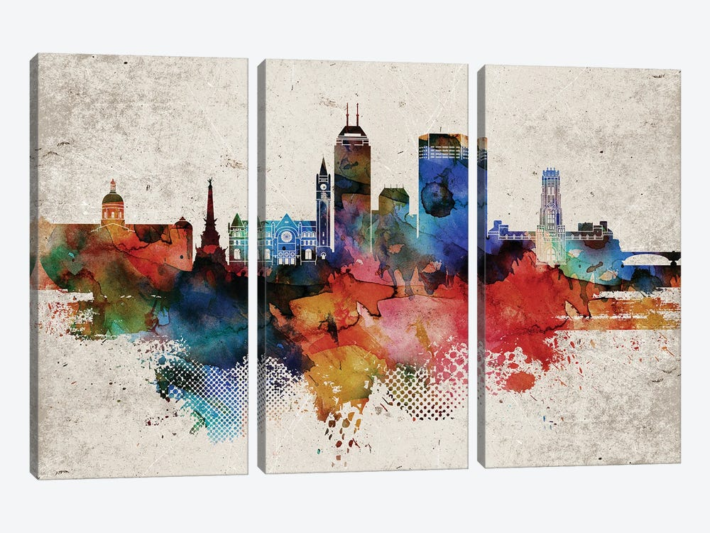 Indianapollis Abstract by WallDecorAddict 3-piece Canvas Art Print