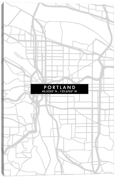 Portland, Oregon City Map Minimal Style Canvas Art Print