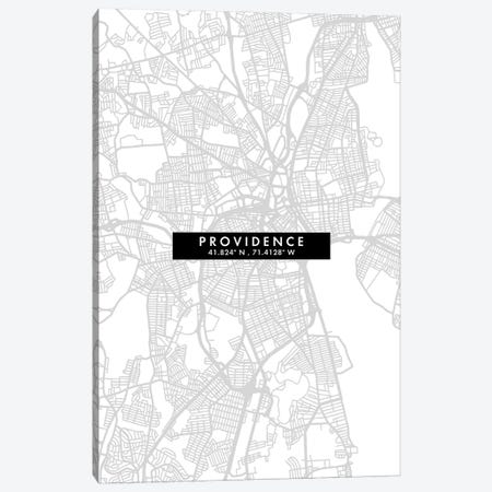Providence, Rhode Island City Map Minimal Style Canvas Print #WDA1682} by WallDecorAddict Canvas Artwork
