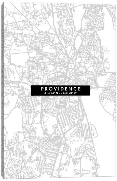 Providence, Rhode Island City Map Minimal Style Canvas Art Print