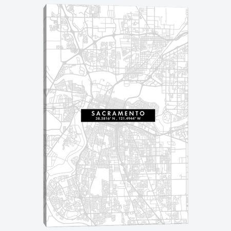 Sacramento, California City Map Minimal Style Canvas Print #WDA1688} by WallDecorAddict Canvas Artwork