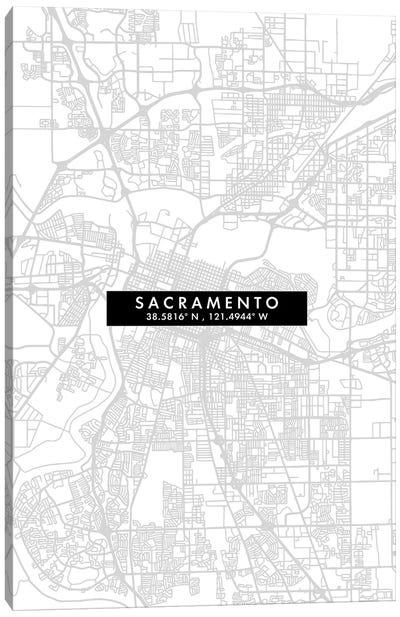 Sacramento, California City Map Minimal Style Canvas Art Print