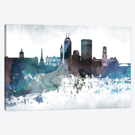 Indianapollis Bluish Skylines Canvas Print #WDA168} by WallDecorAddict Canvas Artwork
